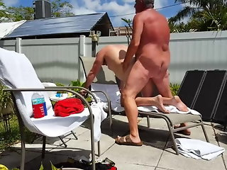 Grandpa fucks younger outdoor