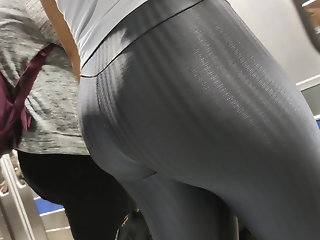 Big booty hot silver leggings candid