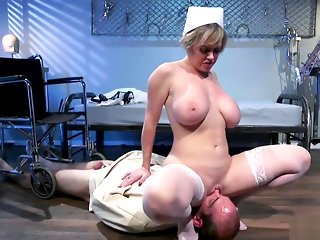 Milf nurse rides face to male patient