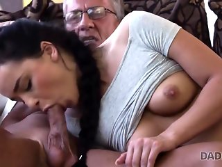 DADDY4K. Raven-haired angel Erica Black gets old and young