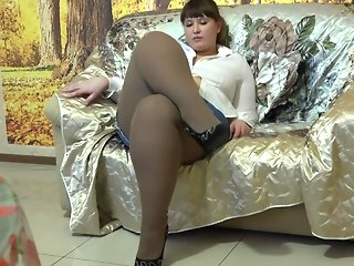 Young bbw in grandmother's pantyhose. Feet fetish