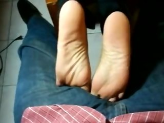 sexy smooth ebony dangling footjob tease part 1