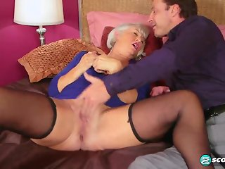 First a dildo, then a cock for Jeannie Lou's ass - 60PlusMilfs
