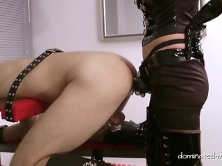 Slave locked in Chastity is fucked