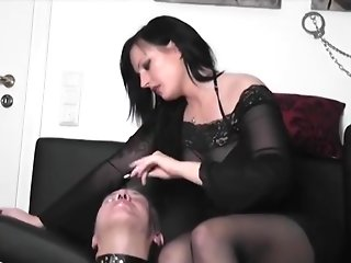 German Mistress Human Ashtray & Spitting with Slave
