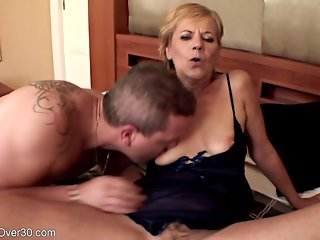 Horny, Hungarian granny is holding her legs lifted high while getting fucked hard, in her bedroom